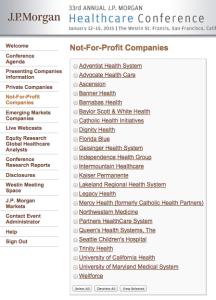 JP Morgan Non Profit Track Companies